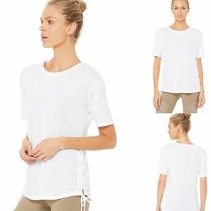 ALO Yoga Bliss Lace Up Tie Side Tee
